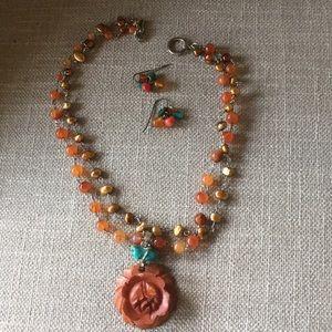 Summer beaded set necklace & earrings